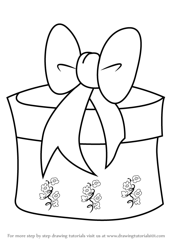 600x846 Step By Step How To Draw Christmas Giftbox With Ribbon
