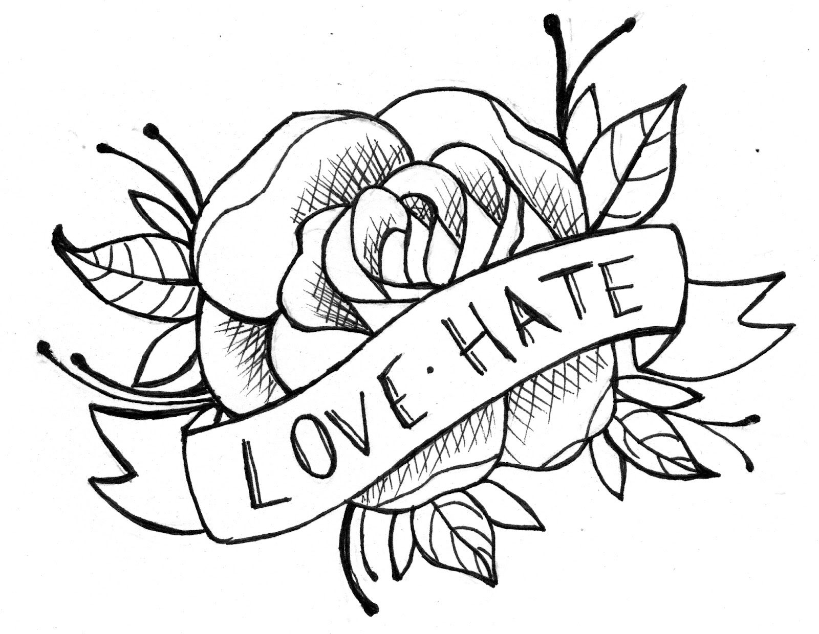 1600x1240 Collection Of Rose And Ribbon Tattoo Design
