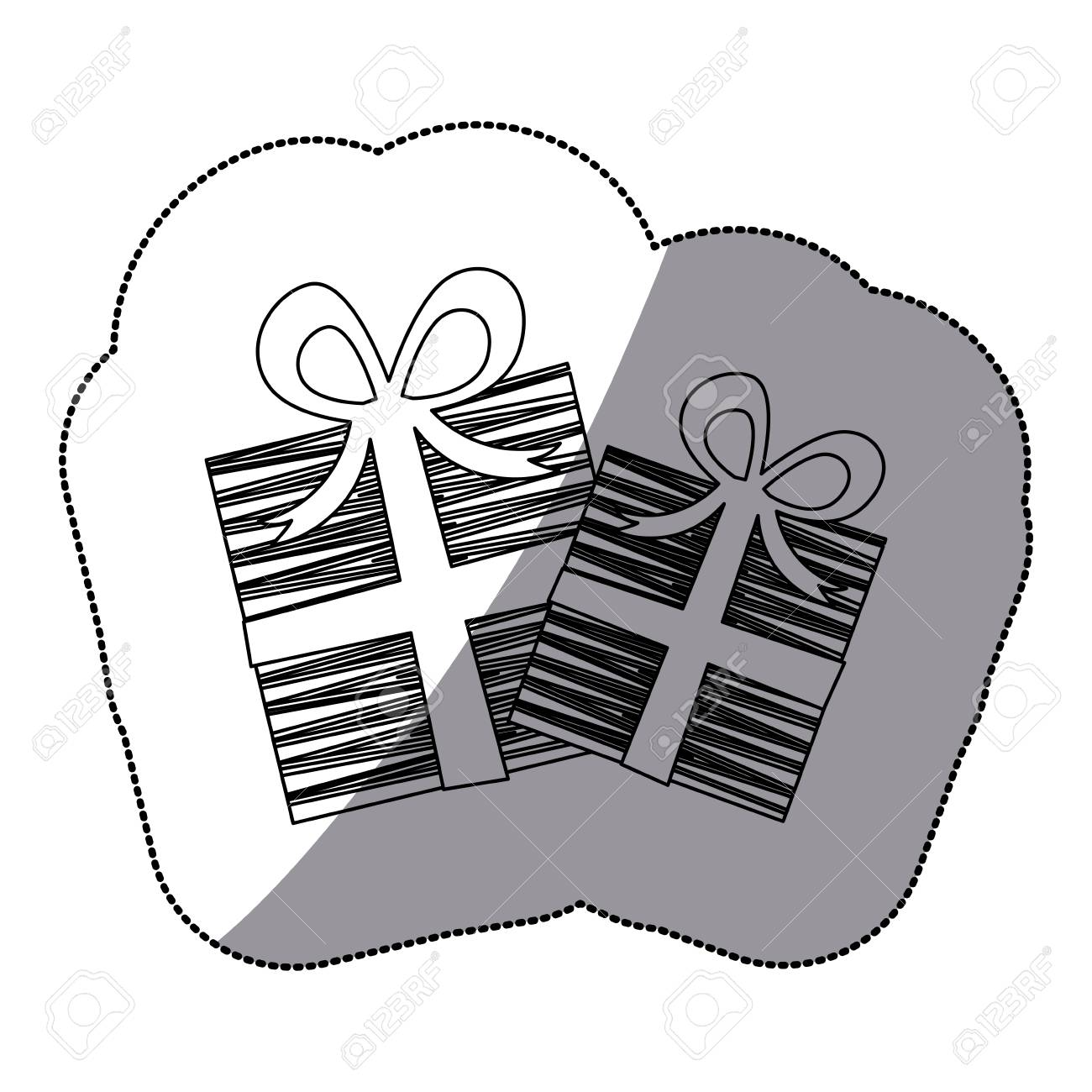 1300x1300 Sticker Shading Silhouette Set Collection Striped Gift Box