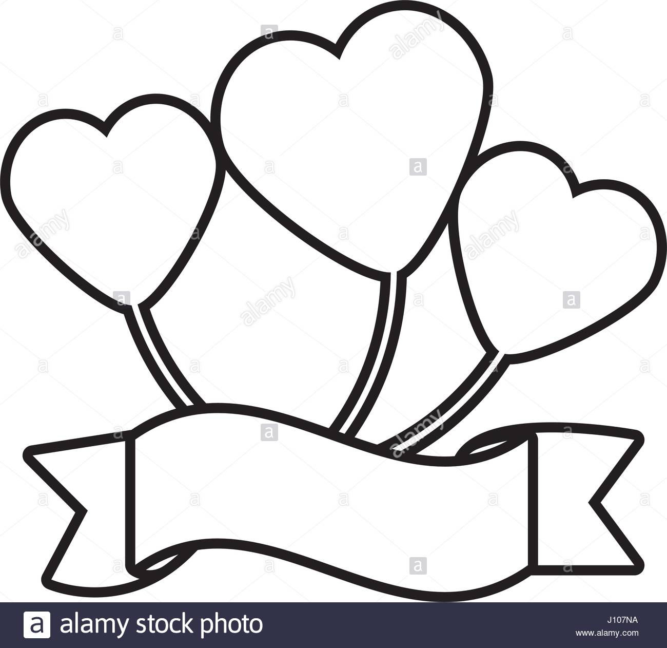 1300x1262 Balloon Heart Ribbon Decorative Outline Stock Vector Art
