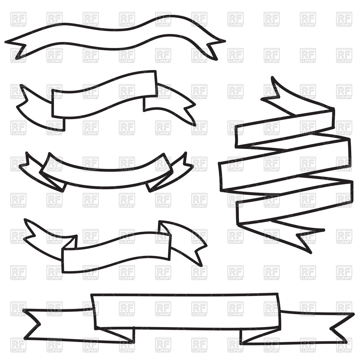 1200x1200 Outline Of Banners And Ribbons Vector Clipart Image