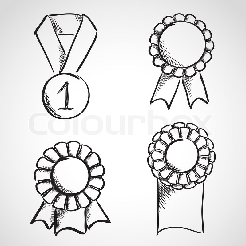 800x800 Set Of Sketch Prize Ribbons. Hand Drawn Illustration Stock