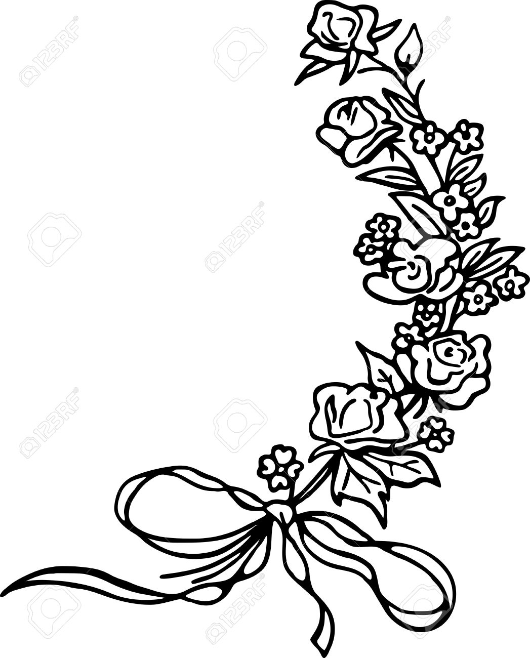 1047x1300 Simple Black And White Line Drawing Of A Sprig Of Roses