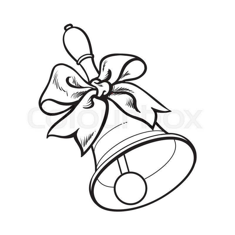 800x800 Traditional School Bell With Ribbon, Black And White Sketch Style