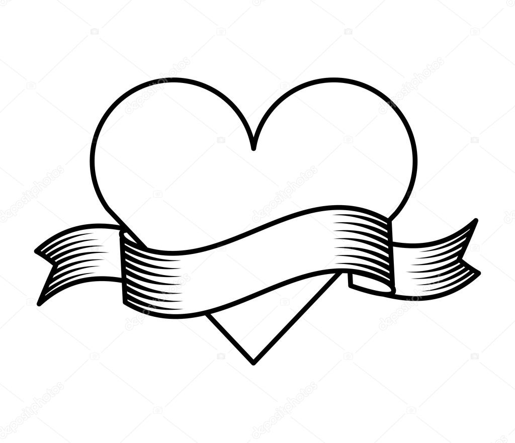 1024x881 Ribbon Drawing Tattoo Style Isolated Icon Stock Vector