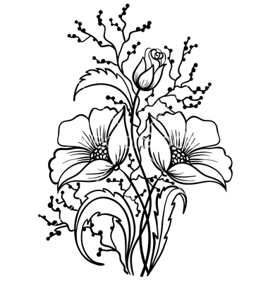 380x400 Flowers Black And White Outline Drawing Vector 1484440