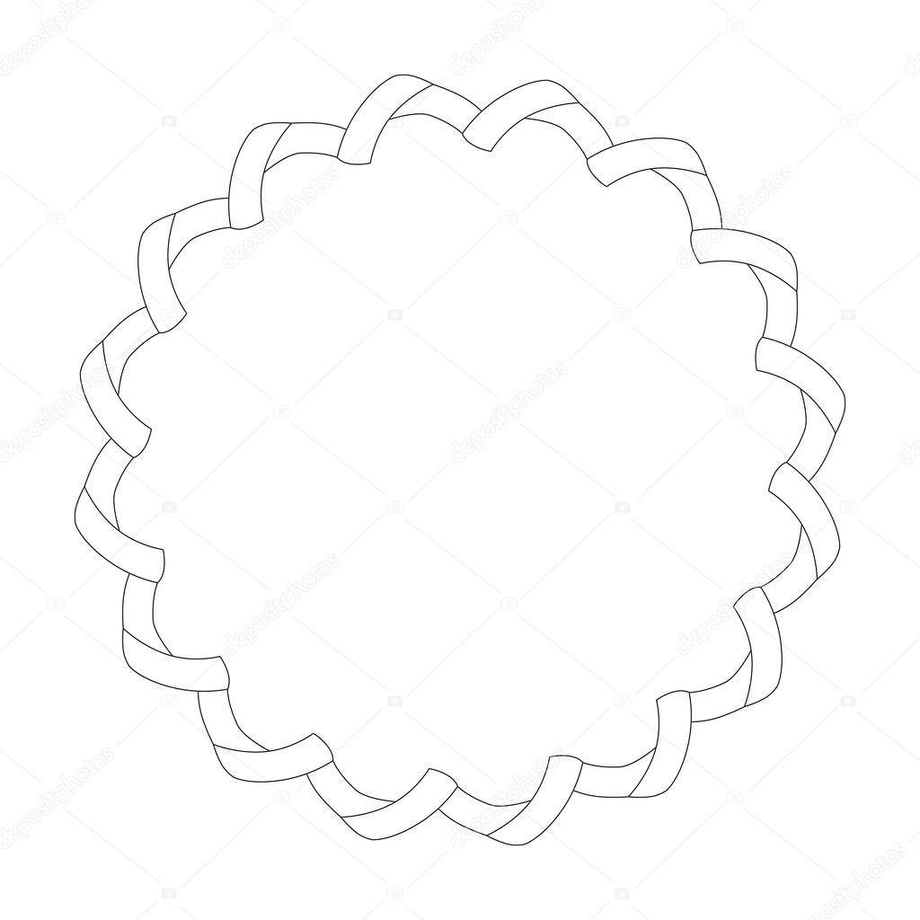 1024x1024 Wide Ribbon On A Circle Photo Frame. Outline Drawing. Stock