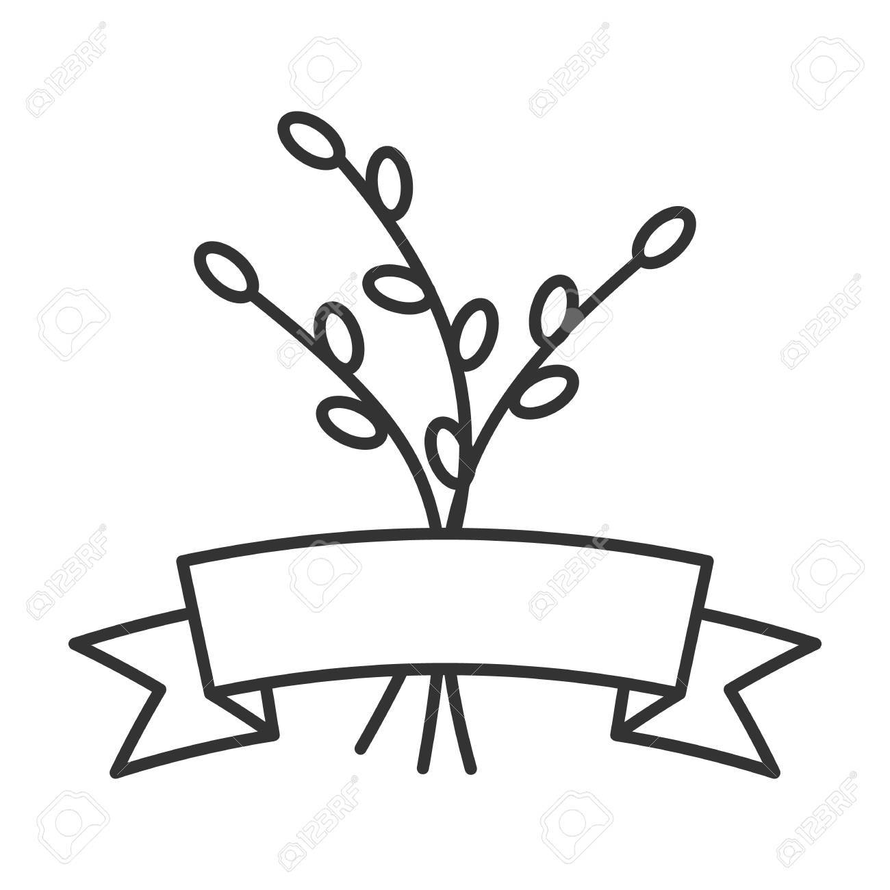1300x1300 Willow Branches With Ribbon Linear Icon. Thin Line Illustration