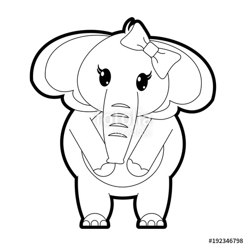 500x500 Outline Adorable Female Elephant Animal With Ribbon Bow Stock