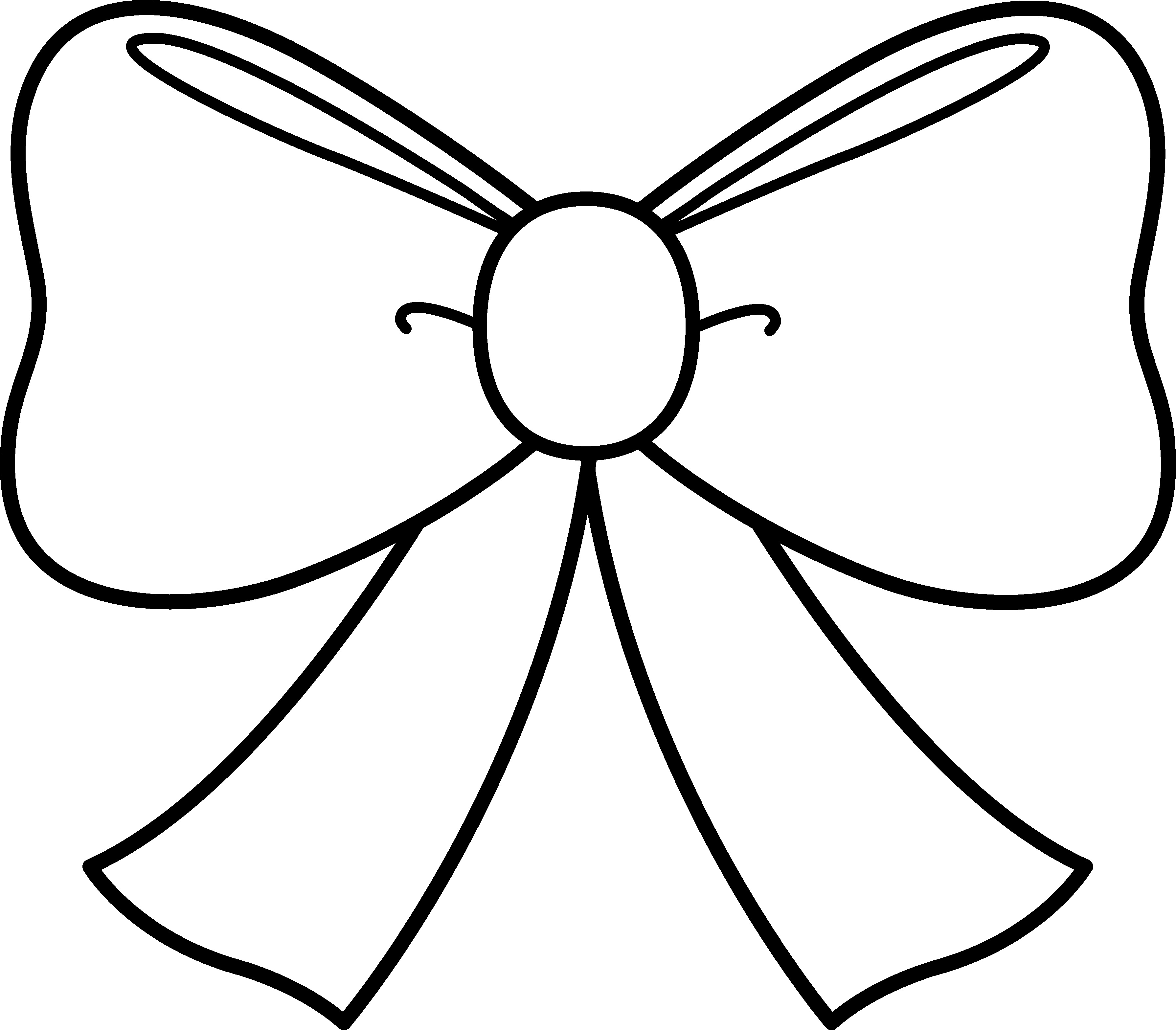 3580x3136 Cute Bow Coloring Page