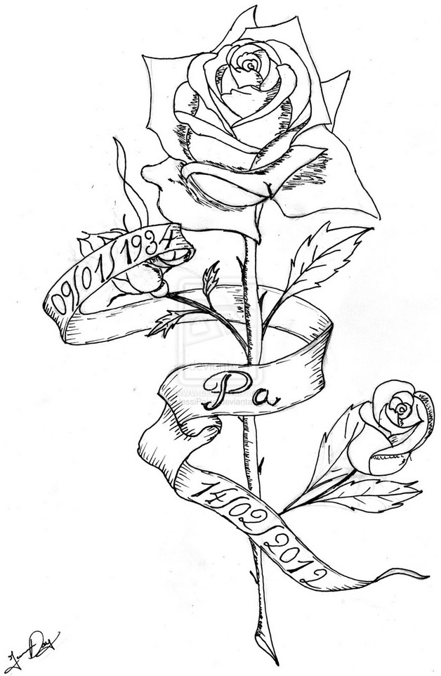 628x962 Rose And Ribbon Tattoo Designs