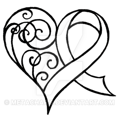 400x392 Cancer Ribbon Heart With Swirls Tattoo By Metacharis