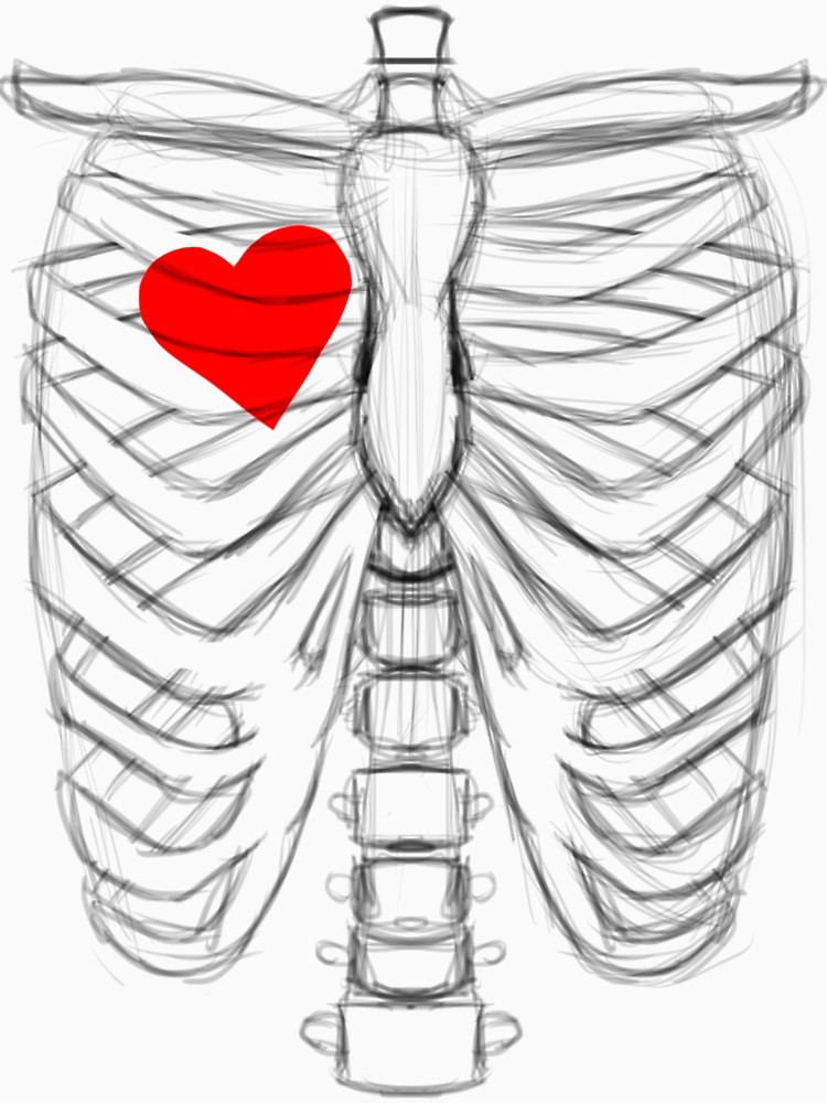 750x1000 Rib Cage Sketch With Heart On The Right Side Unisex T Shirt By