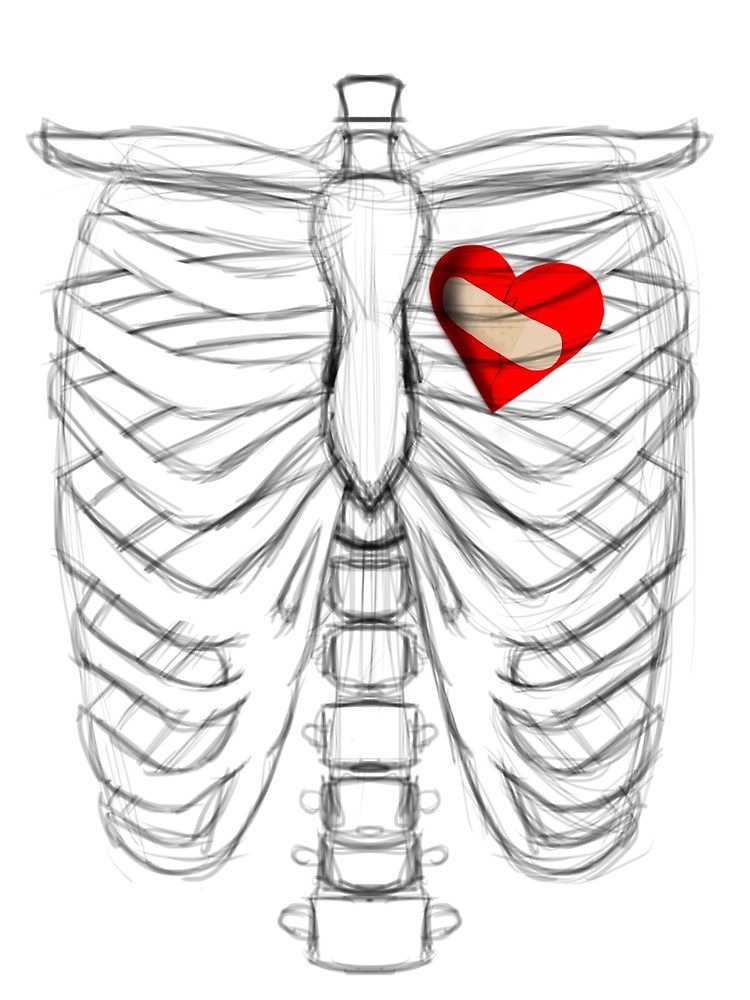750x1000 Rib Cage Sketch With A Fixed Broken Heart Graphic T Shirt By