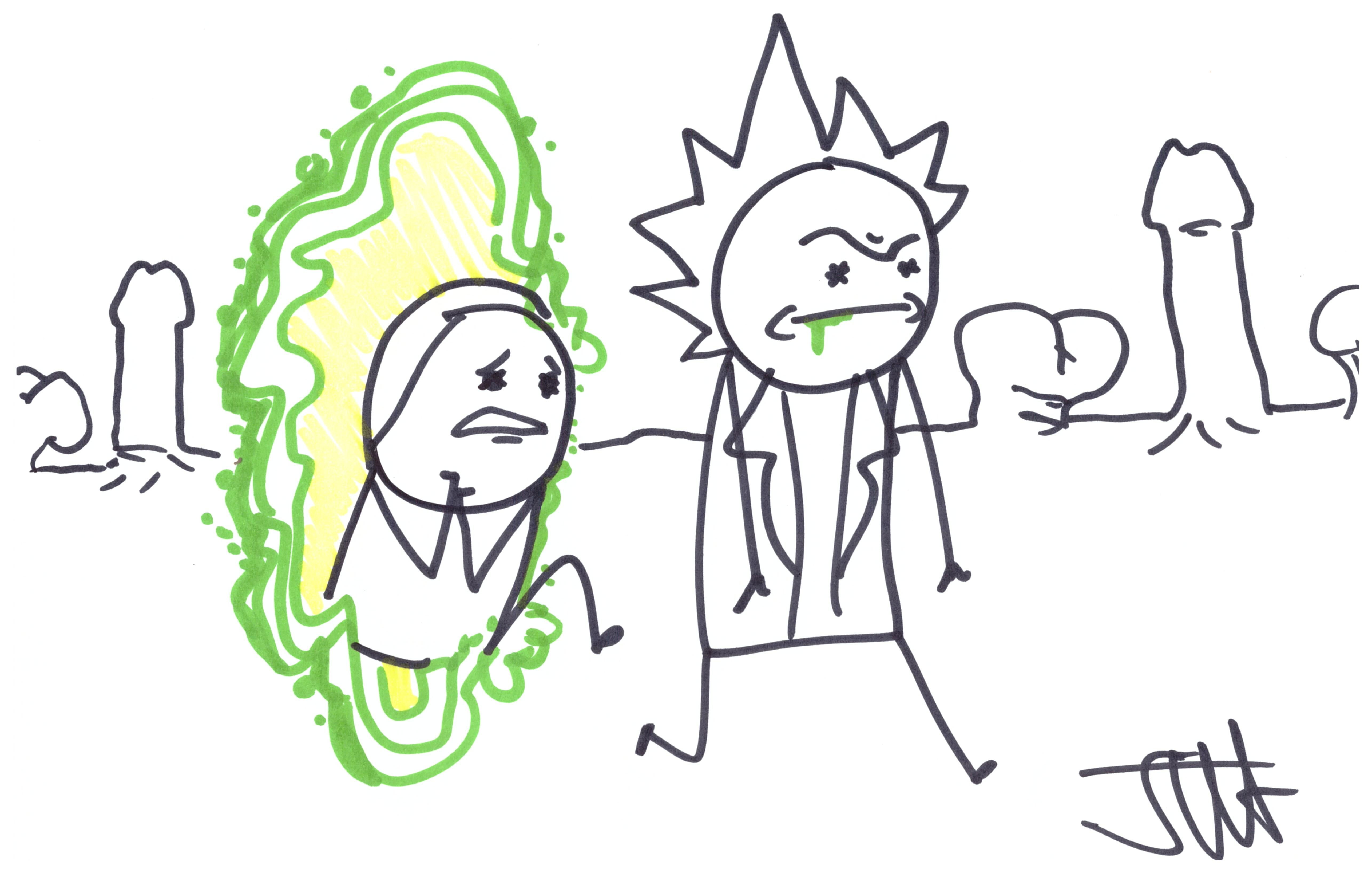 5142x3270 Cyanide And Happiness Sketch Of Rick And Morty From Nycc