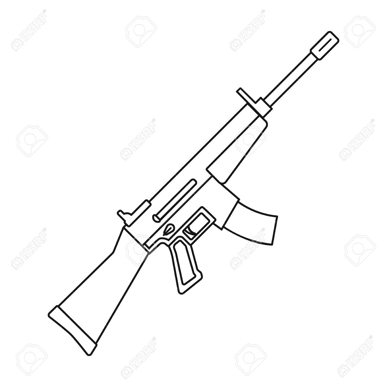 1300x1300 Military Assault Rifle Icon In Outline Style Isolated On White