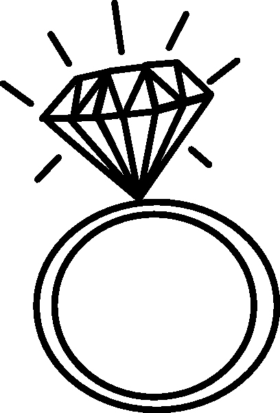 how to draw a diamond ring easy