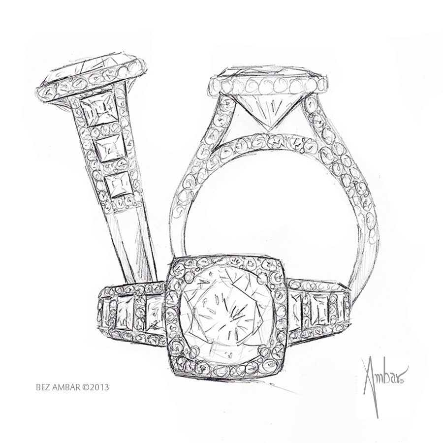 900x900 Windows Engagement Ring Hand Drawing