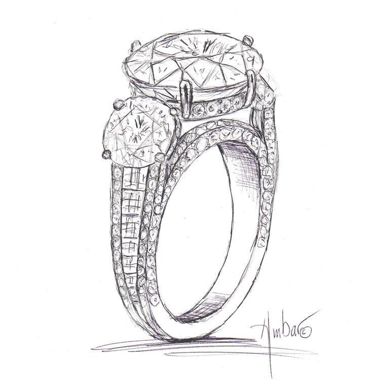 750x750 Free Hand Drawing Of Custom Trio Engagement Ring