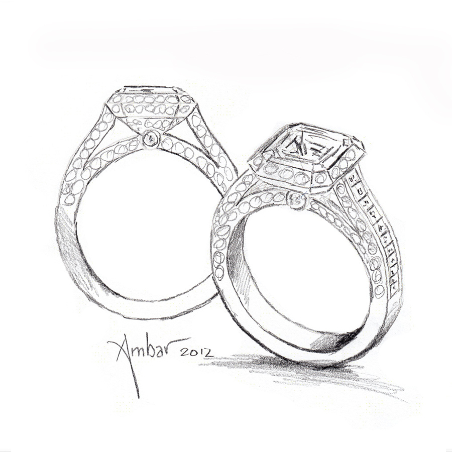 900x900 Drawing Of A Ring Hand Drawing For Cosmic Fire Engagement Ring