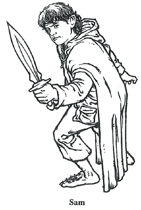600x892 How To Draw A Lord Of The Rings Elf His Sword In Coloring Page