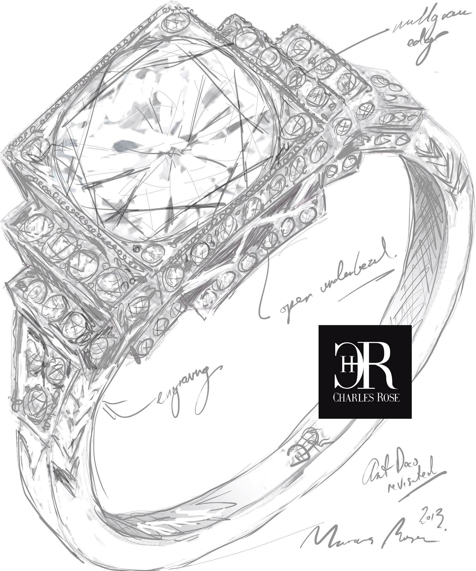 1665x2000 Concept Drawings Today For An Elaborate Art Deco Inspired Diamond