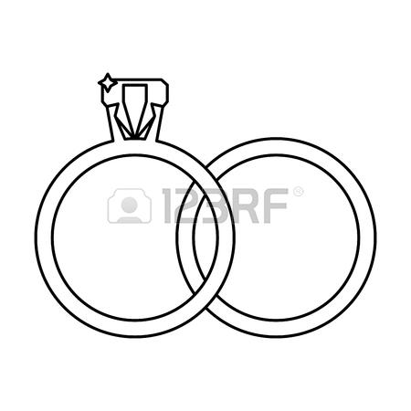450x450 Drawing Golden Rings Wedding Symbol Vector Illustration Eps 10