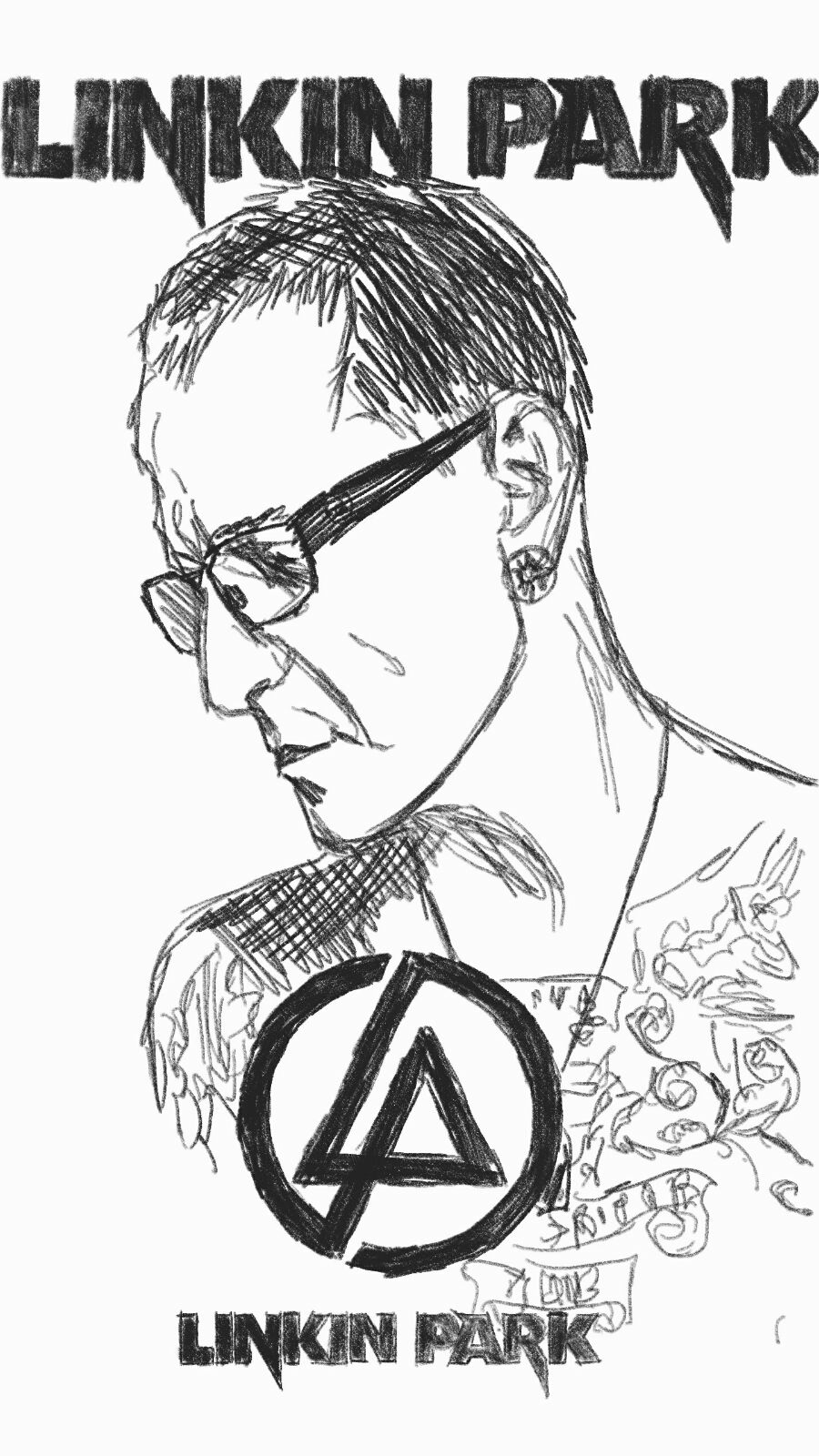 900x1600 My Chester Bennington Memorial Drawing. Rip Chester. Linkinpark