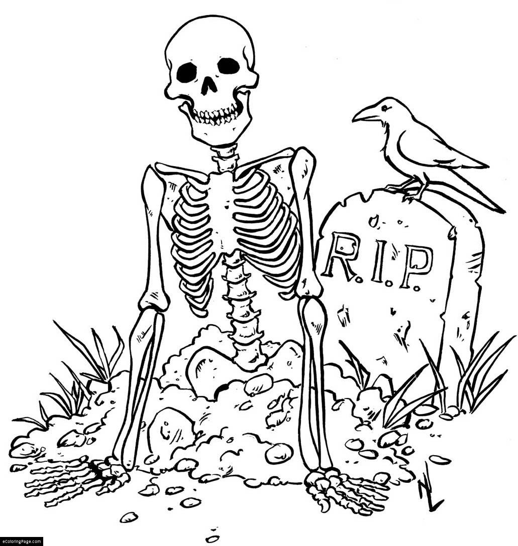 1031x1088 Skeleton And R.i.p. Grave Halloween Coloring Page For Kids