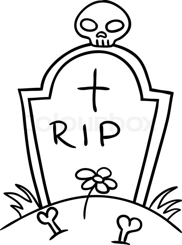 595x800 Halloween Grave Doodle , Vector Illustration On A White Background