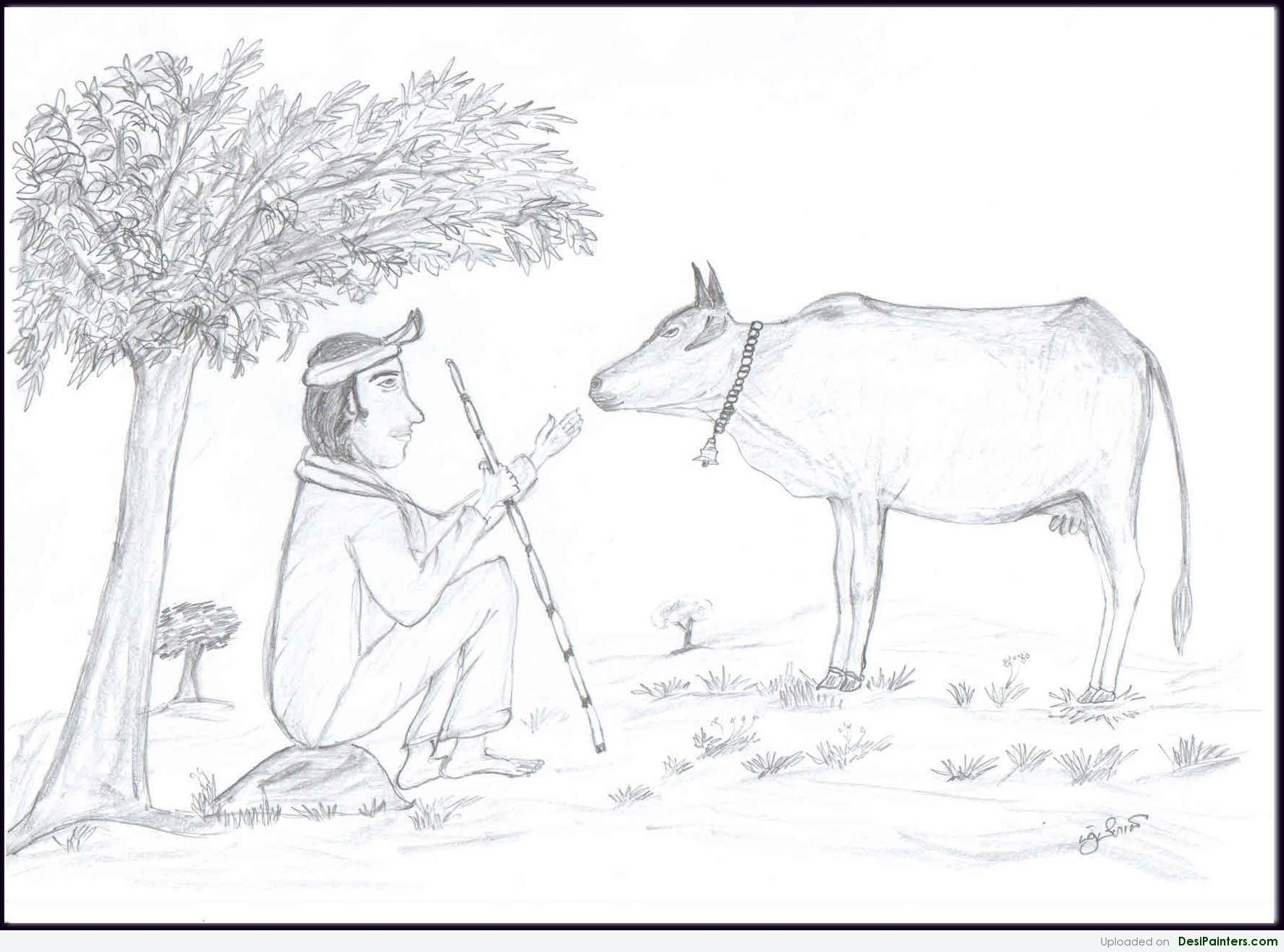 1772x1314 Indian Village Pencil Sketch 3d Village Paintings Desipainters