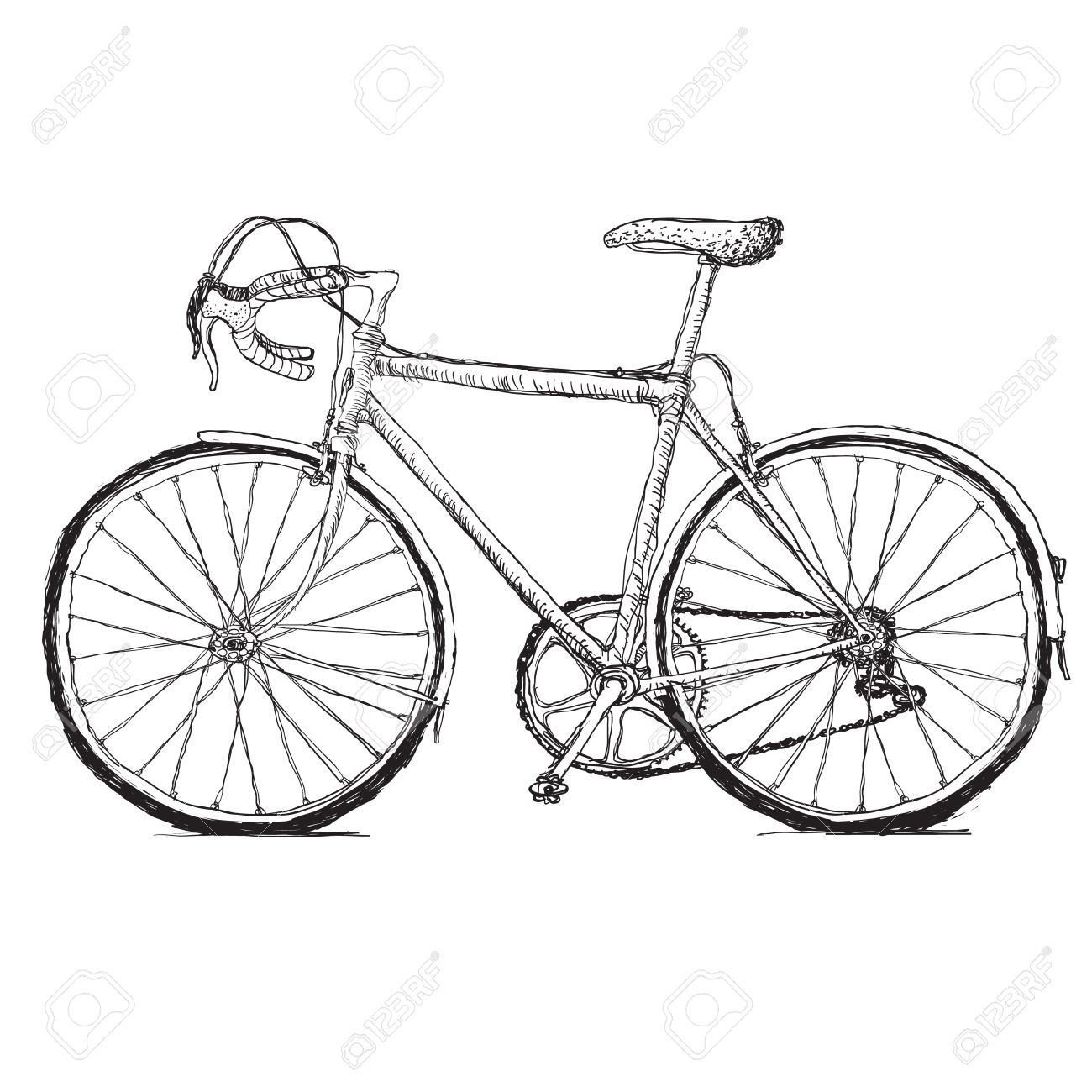 1300x1300 Vintage Road Bicycle Hand Drawn Illustration Royalty Free Cliparts