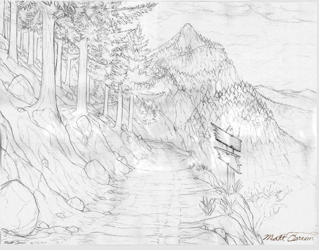 1022x800 King Mountain Road Drawing By Mattimage3d 2d Landscape