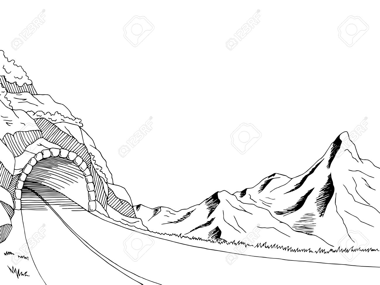 1300x975 Mountain Road Tunnel Graphic Art Black White Landscape Sketch