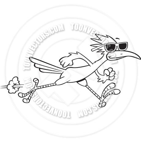 460x460 Cartoon Roadrunner Bird Running (Black Amp White Line Art) By Ron