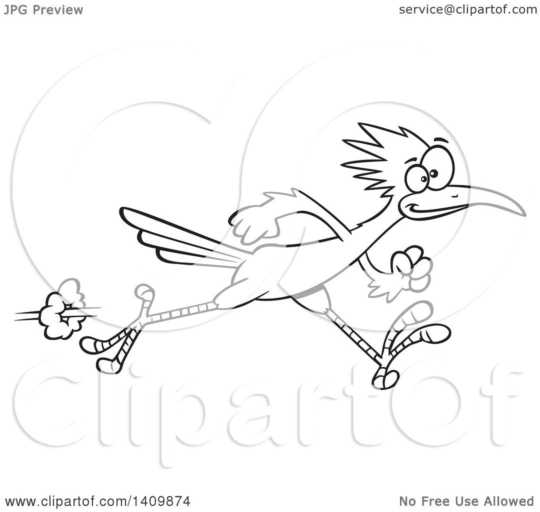 1080x1024 Clipart Of A Black And White Lineart Sprinting Roadrunner Bird