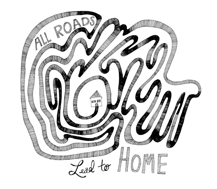 840x731 All Roads Lead To Home 8x10 Fine Art Print Of Typography Quote