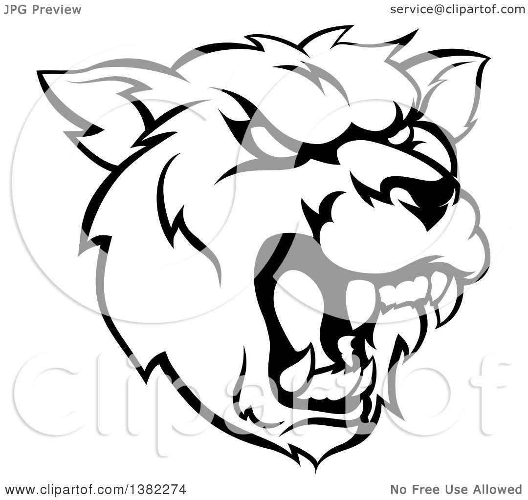 1080x1024 Clipart Of A Black And White Roaring Grizzly Bear Mascot Head