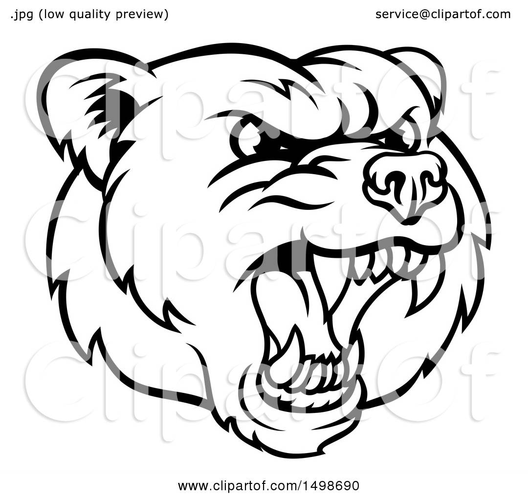 1080x1024 Clipart Of A Mad Grizzly Bear Mascot Head, Black And White