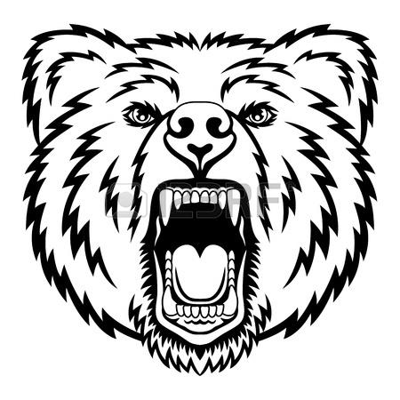 450x450 Hand Drawn Vector Roaring Bear. T Shirt Design. Wild Grizzly