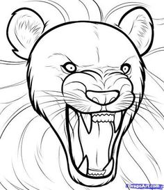 236x273 How To Draw A Lion Roaring, Roaring Lion, Step By Step, Safari