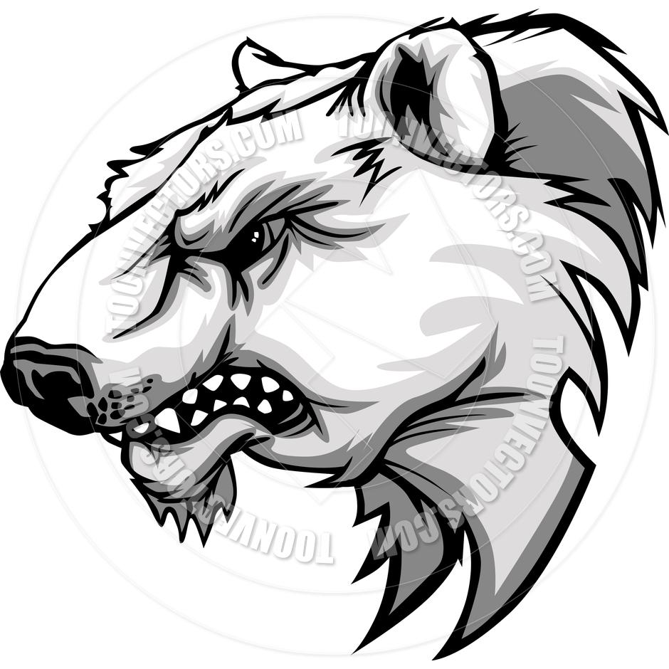940x940 Polar Bear Mascot Head Vector Cartoon By Chromaco Toon Vectors