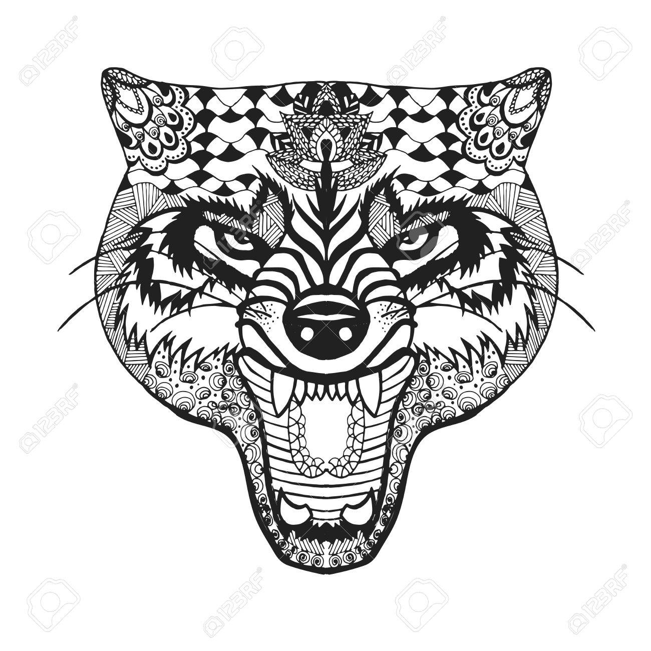 1300x1300 Stylized Roaring Wolf Sketch For Avatar Royalty Free Cliparts