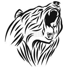 236x236 Wild Grizzly, Hand Drawn Vector Roaring Bear. T Shirt Design