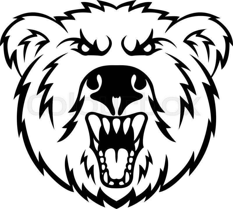 800x717 Angry Bear Head Symbol Stock Vector Colourbox