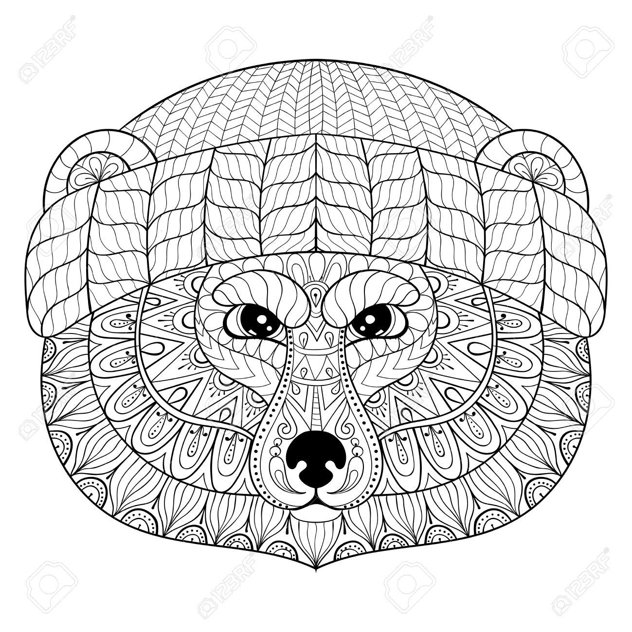 1299x1300 Bear Face In Doodle Style. Wild Animal Face Illustration