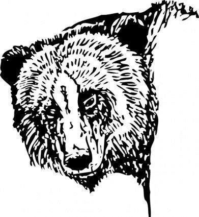 391x425 Bear Head, Cliparts