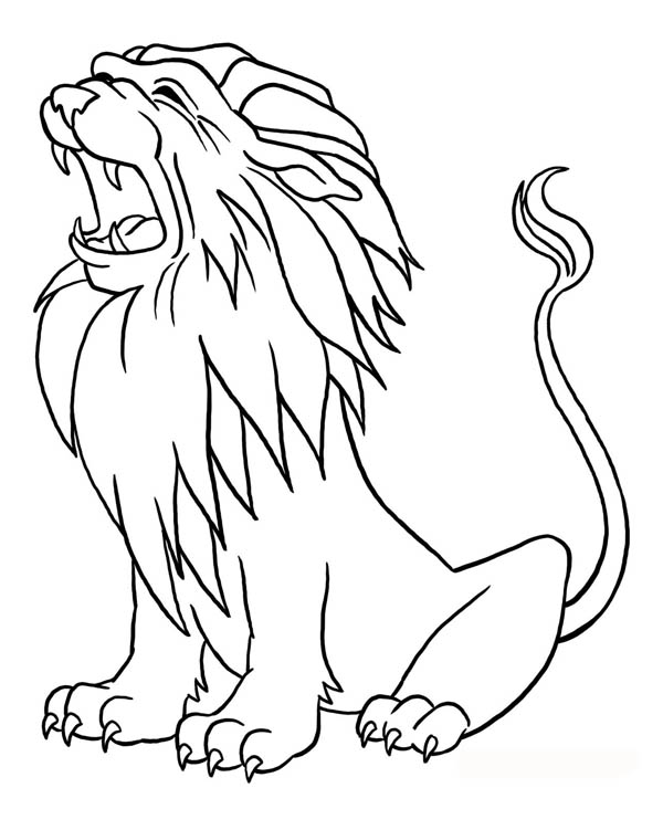 600x751 Lion Roaring Coloring Page Color Luna