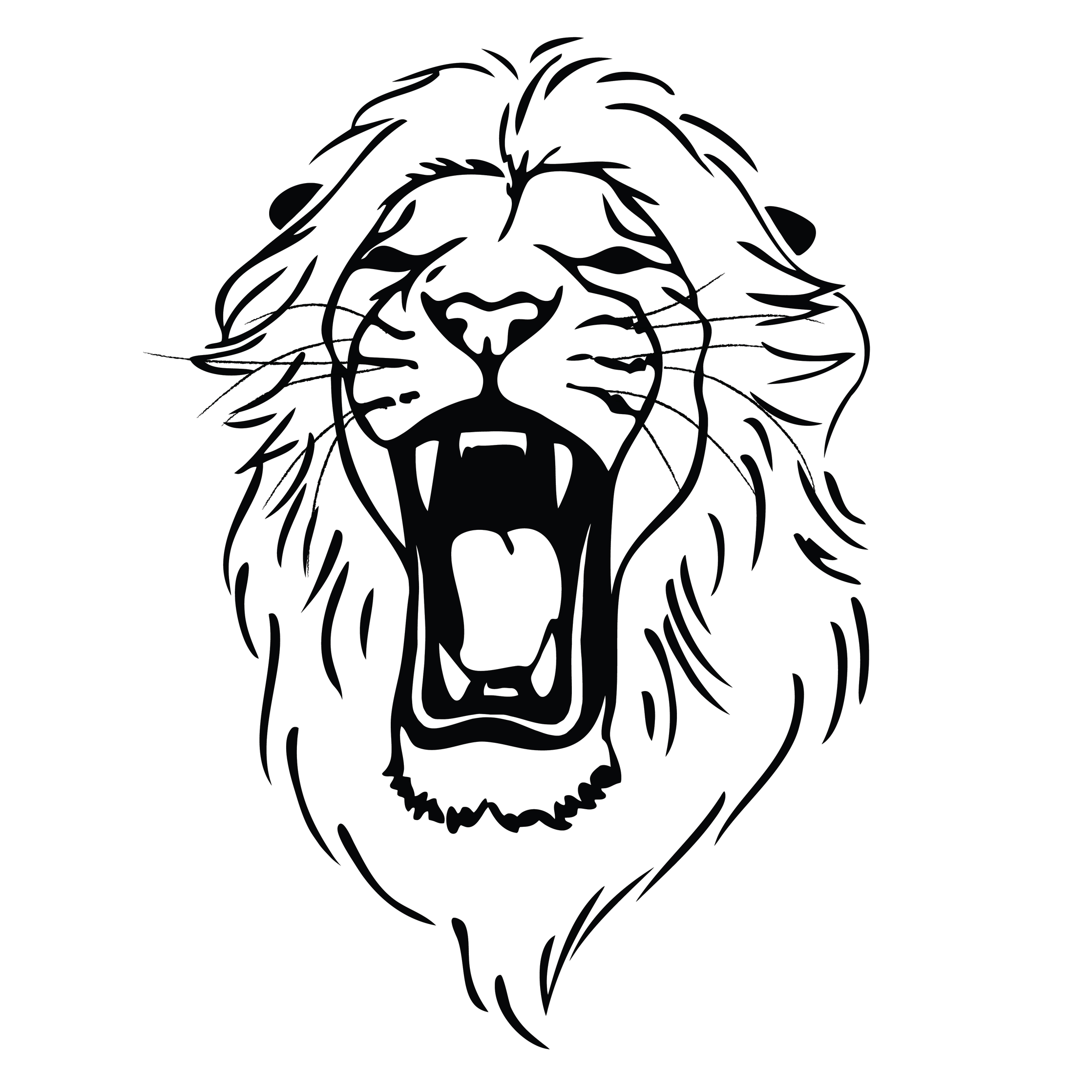 2236x2236 Lion Roaring Drawing Clipart Panda