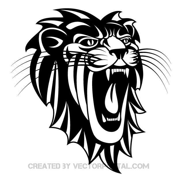 660x660 Roaring Lion Vector Image